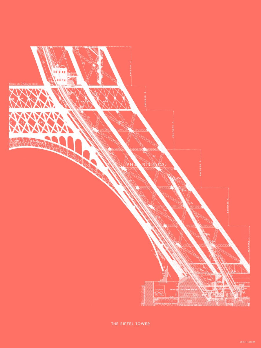 The Eiffel Tower - Base Elevator Section - Red -