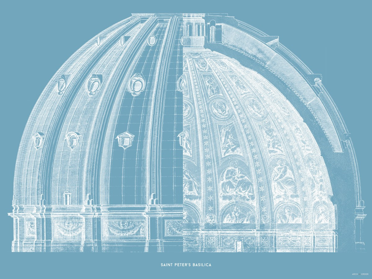 Saint Peter's Basilica - Dome Cross Section - Blue -