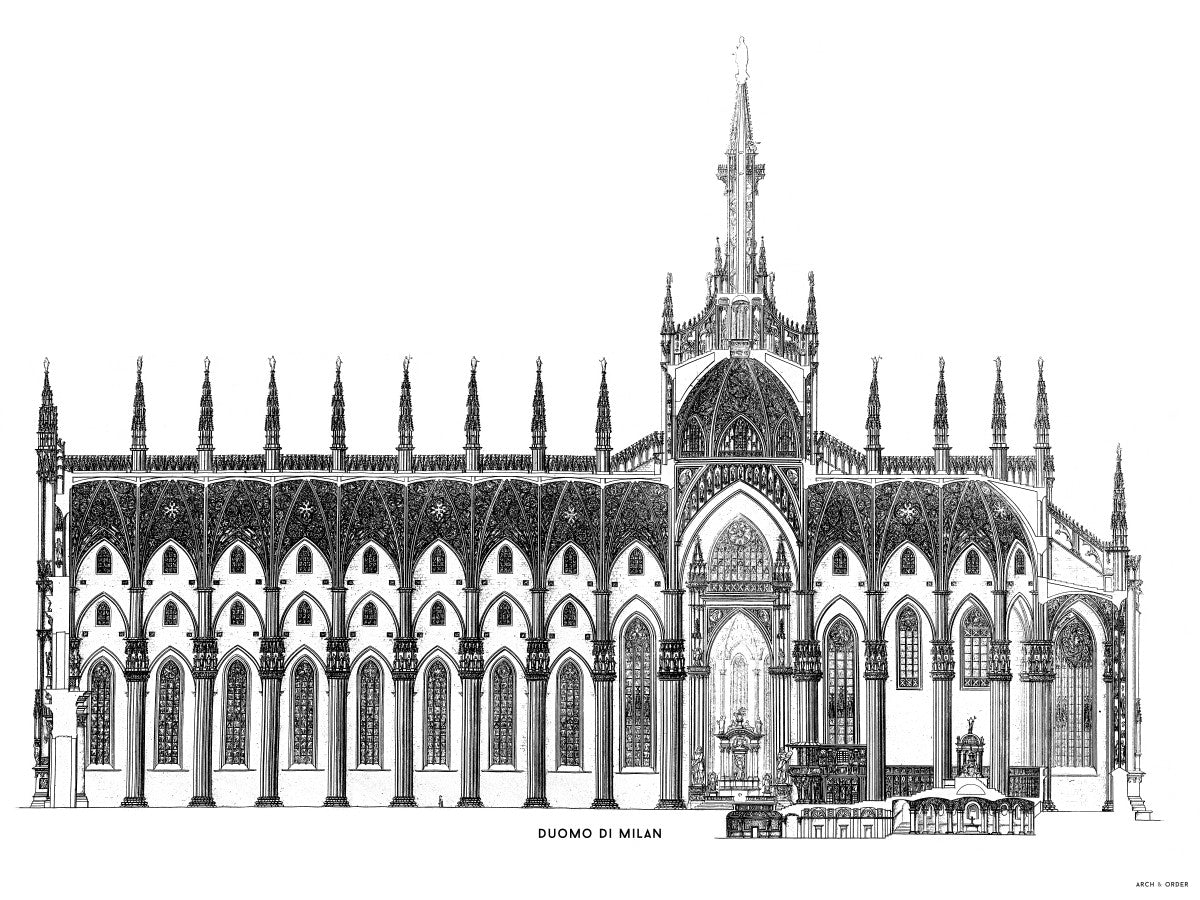 The Milan Cathedral - Side Elevation Cross Section - White -
