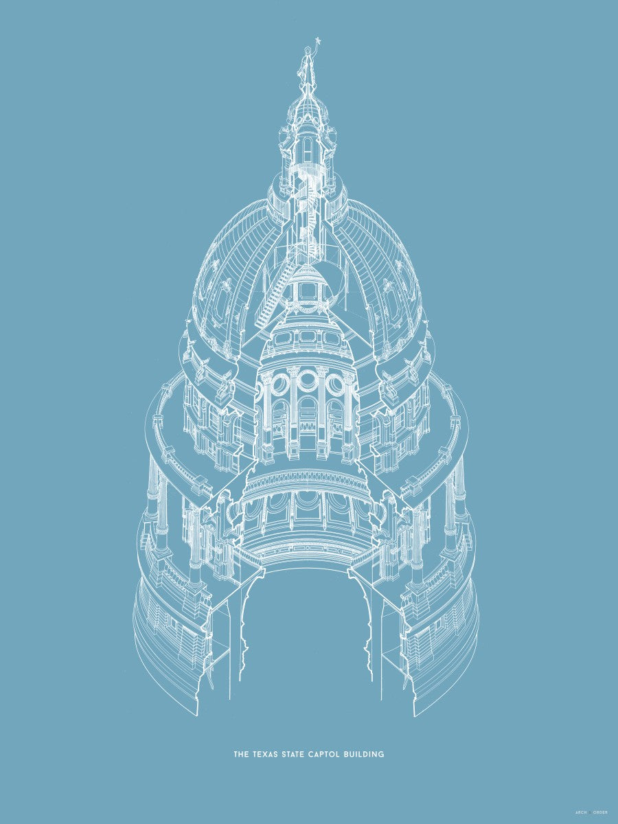 The Texas State Capitol Building - Dome Axonometric Cross Section - Blue -