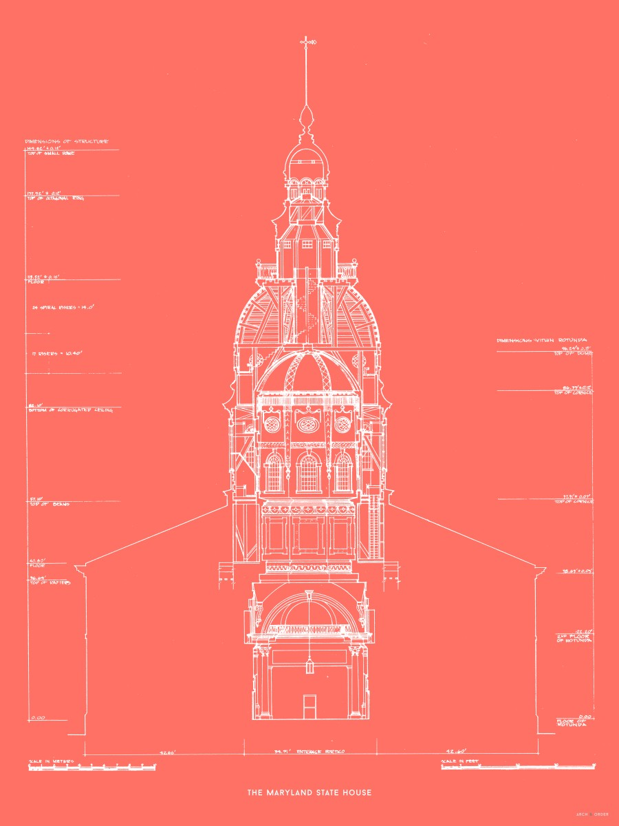 The Maryland State House - Northwest Elevation Cross Section - Red -