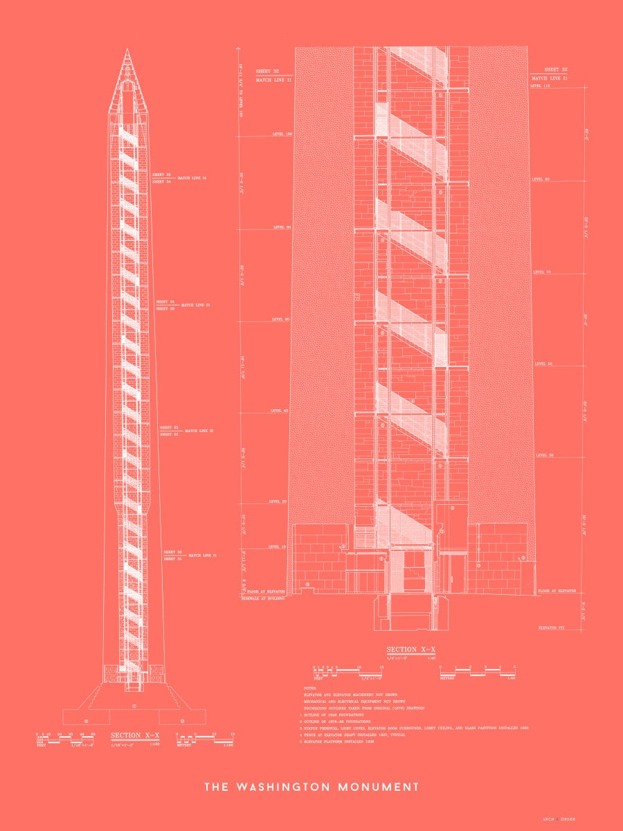 The Washington Monument Cross Section - Red -