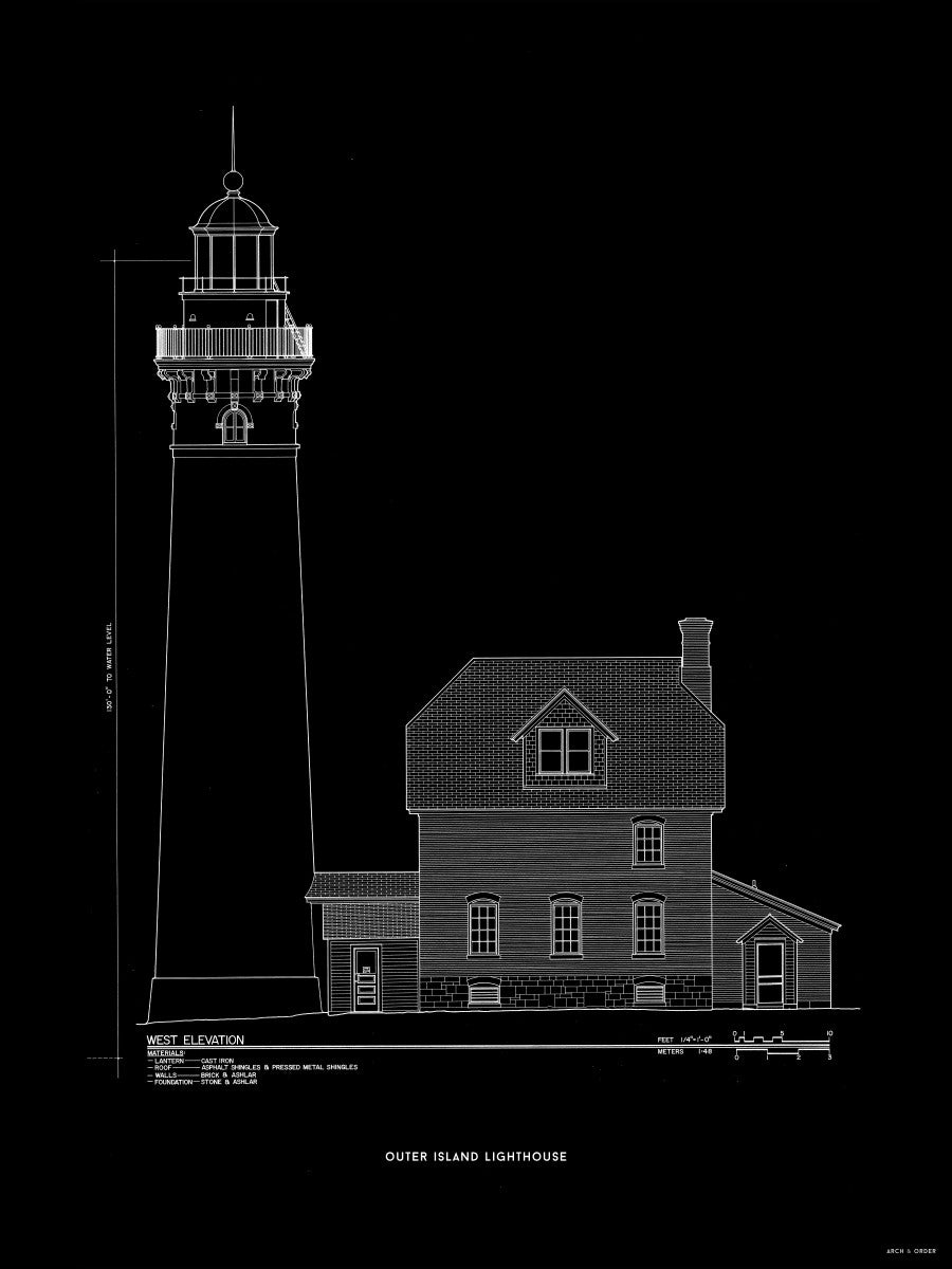 Outer Island Lighthouse - West Elevation - Black -