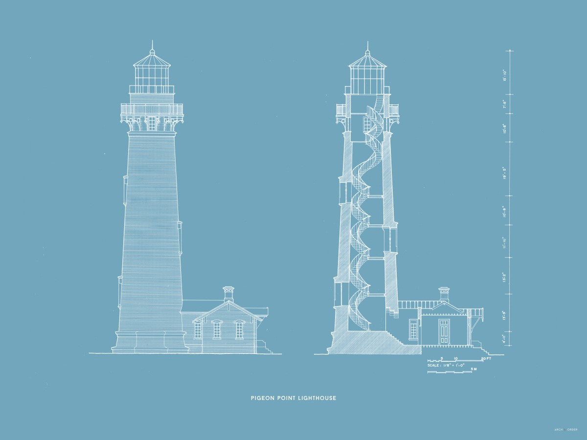 Pigeon Point Lighthouse - Southeast Elevation and Cross Section - Blue -