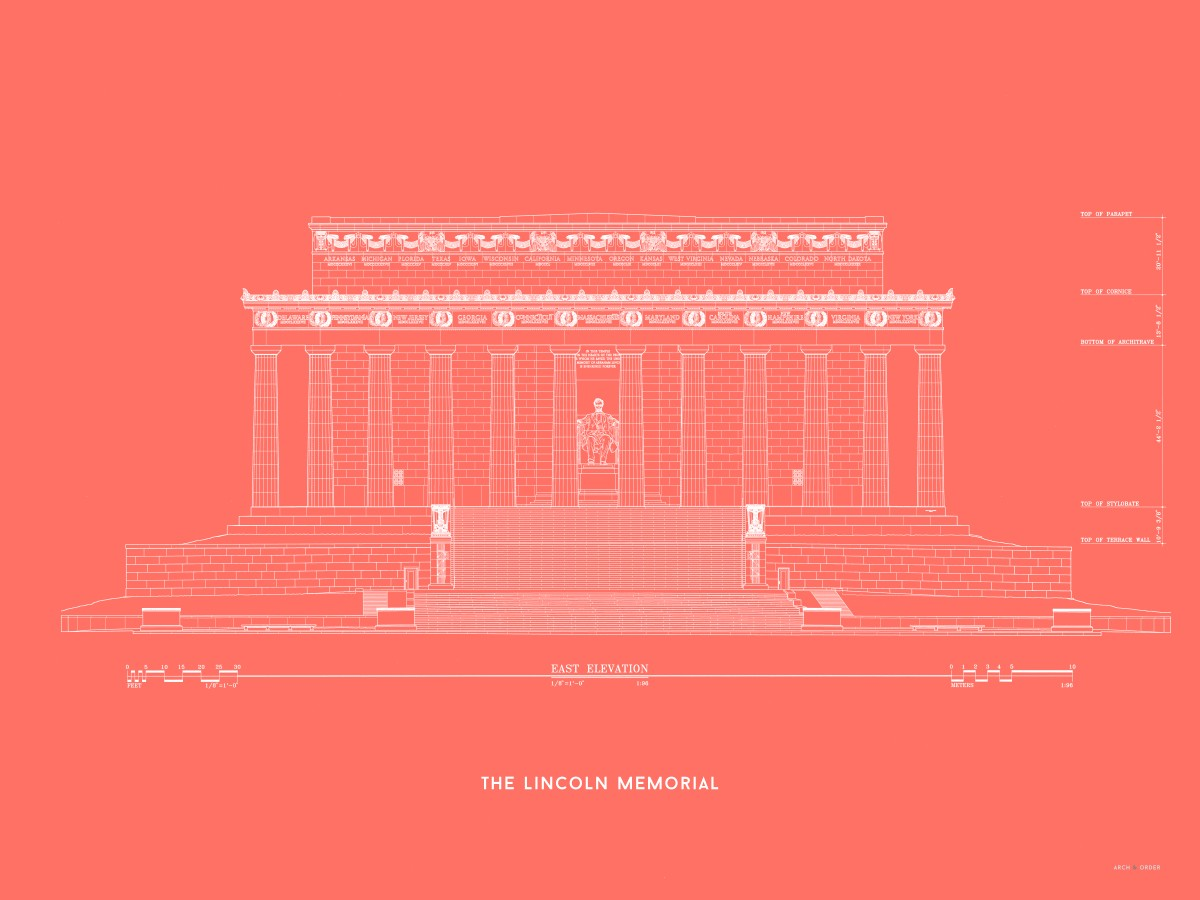Lincoln Memorial East Elevation - Red -