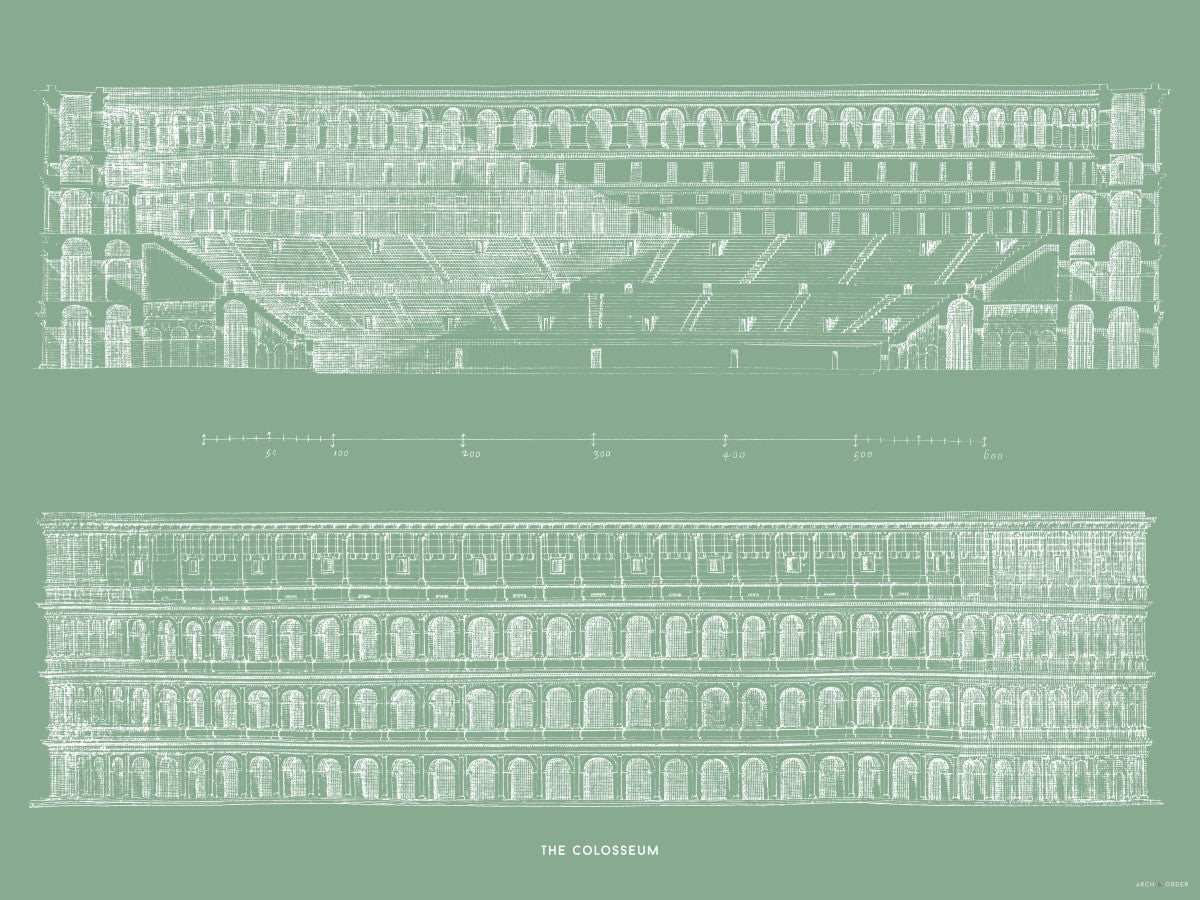 The Colosseum - Primary Elevation and Cross Section - Green -