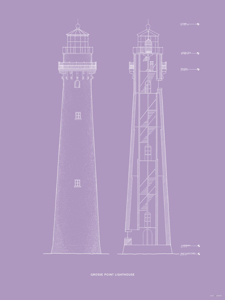 Grosse Point Lighthouse - East Elevation and Cross Section - Lavender -