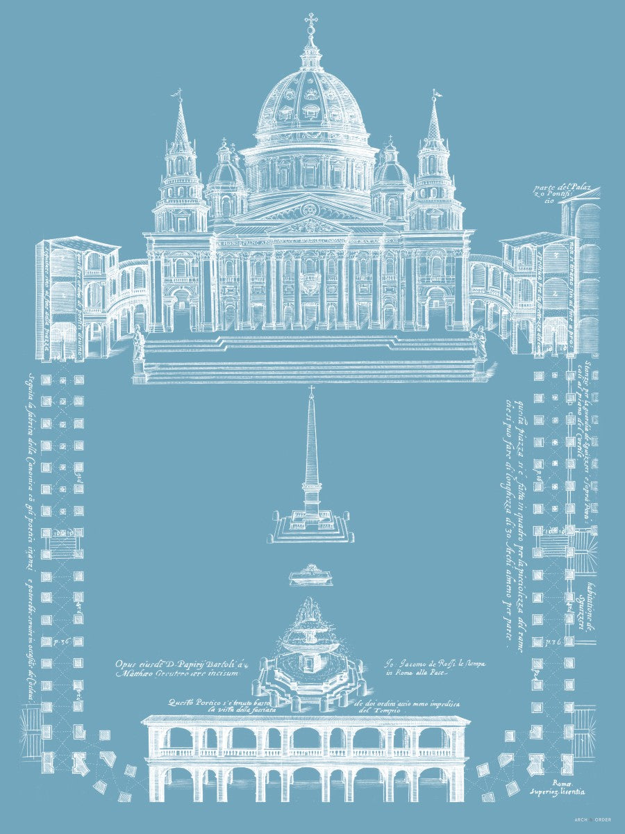 Saint Peter's Basilica - Site Plan - Blue -