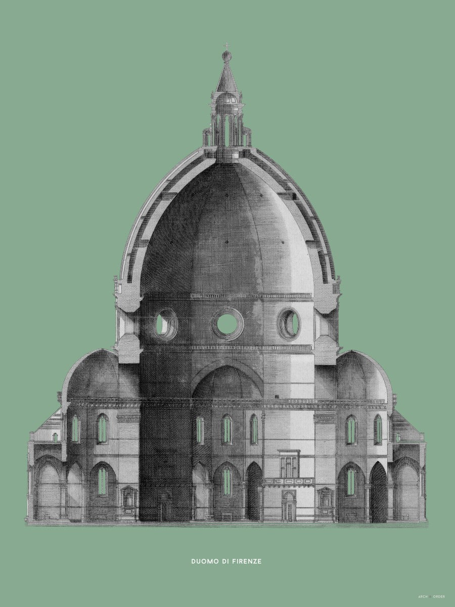 Duomo di Firenze - Primary Elevation Cross Section - Green -