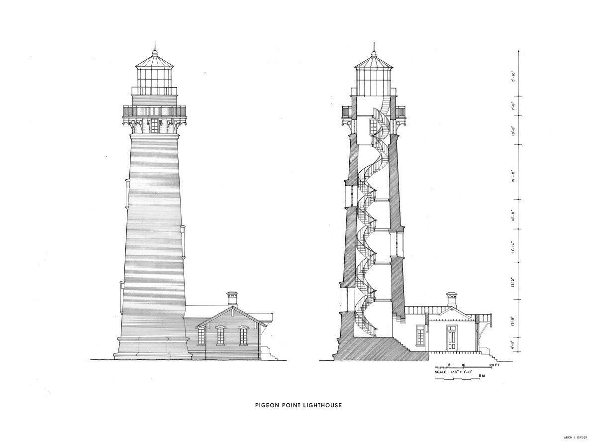 Pigeon Point Lighthouse - Southeast Elevation and Cross Section - White -