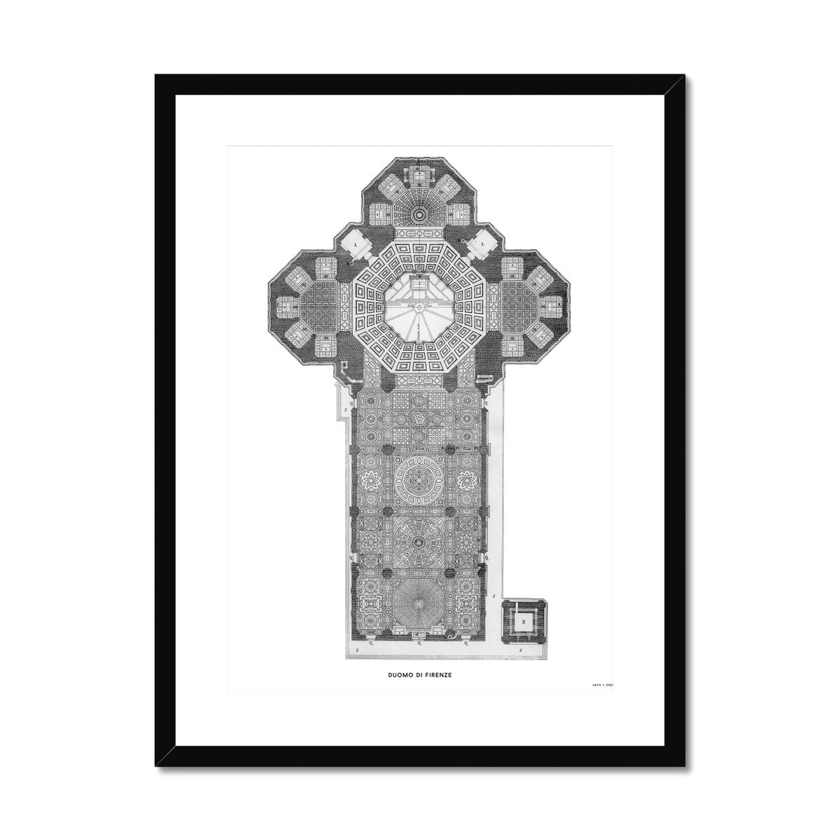Duomo di Firenze - Floor Plan - White -  Framed & Mounted Print