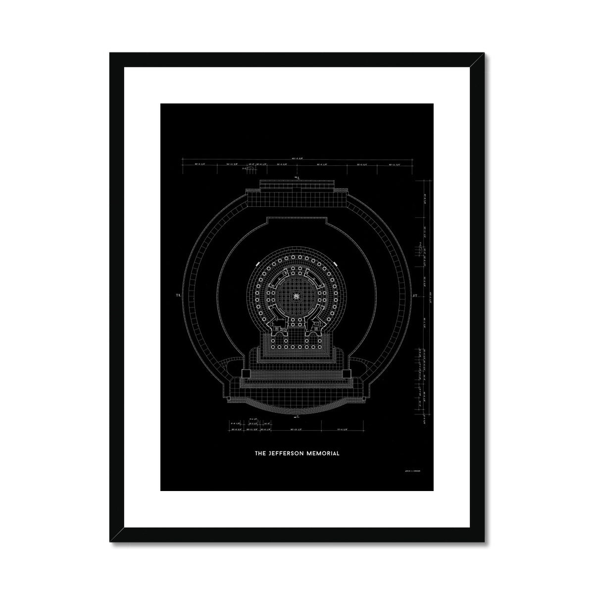 Jefferson Memorial Main Level Plan - Black -  Framed & Mounted Print