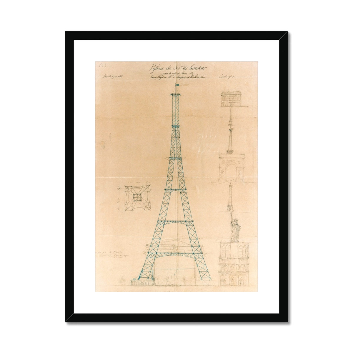 The Eiffel Tower - Original Sketch -  Framed & Mounted Print