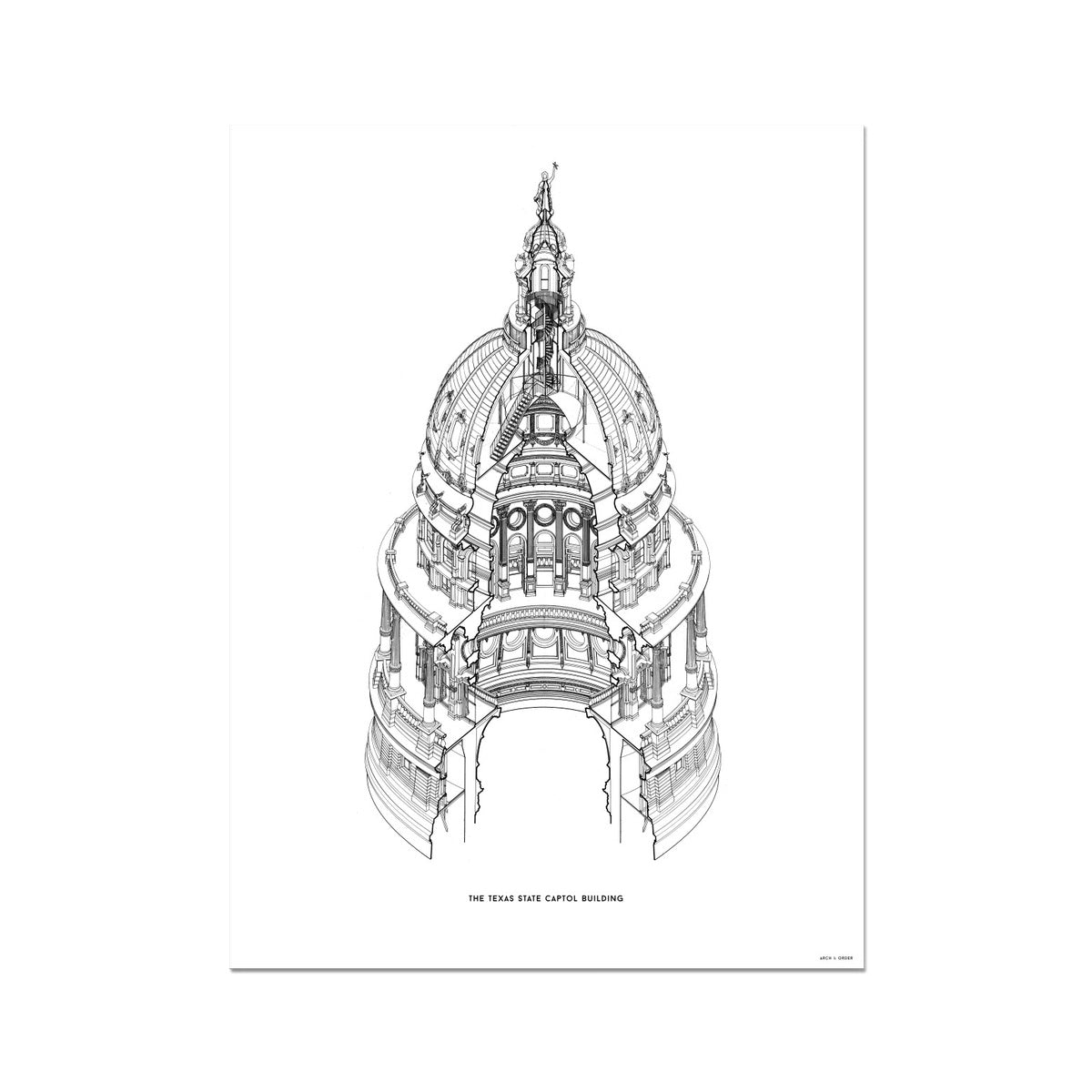 The Texas State Capitol Building - Dome Axonometric Cross Section - White - German Etching Print