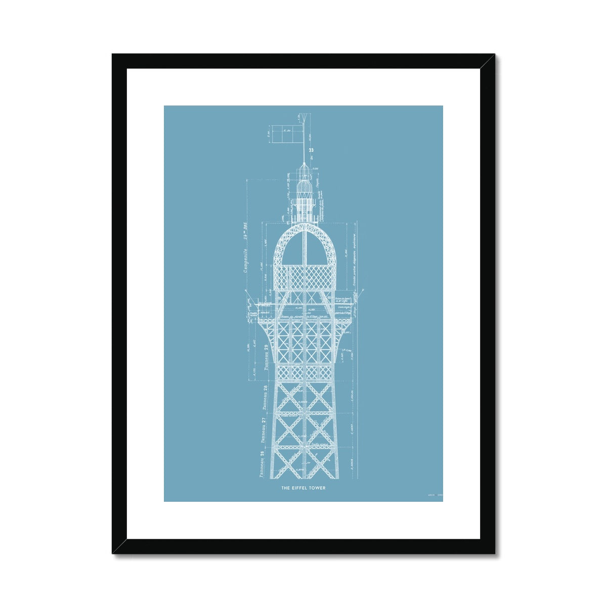 The Eiffel Tower - Top Cross Section - Blue -  Framed & Mounted Print