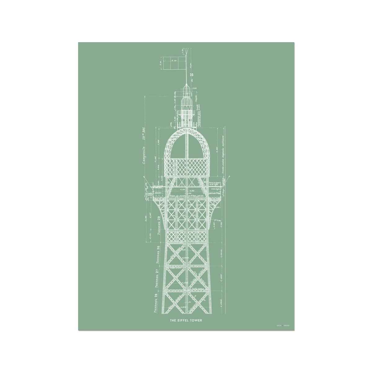 The Eiffel Tower - Top Cross Section - Green -  Etching Paper Print