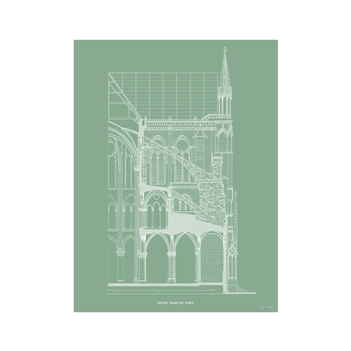 Notre Dame de Paris - Buttress Cross Section - Green -  Etching Paper Print