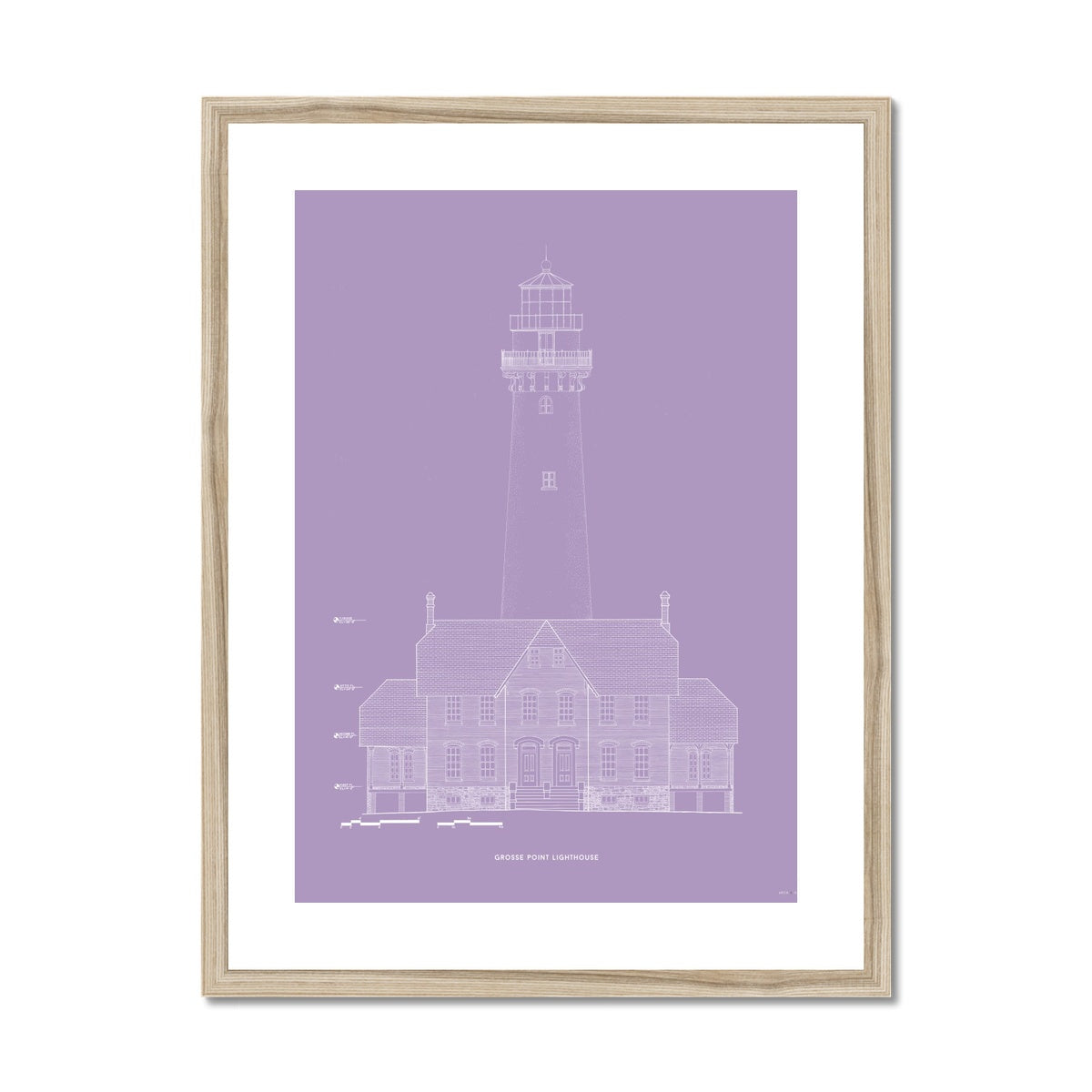 Grosse Point Lighthouse - West Elevation - Lavender -  Framed & Mounted Print