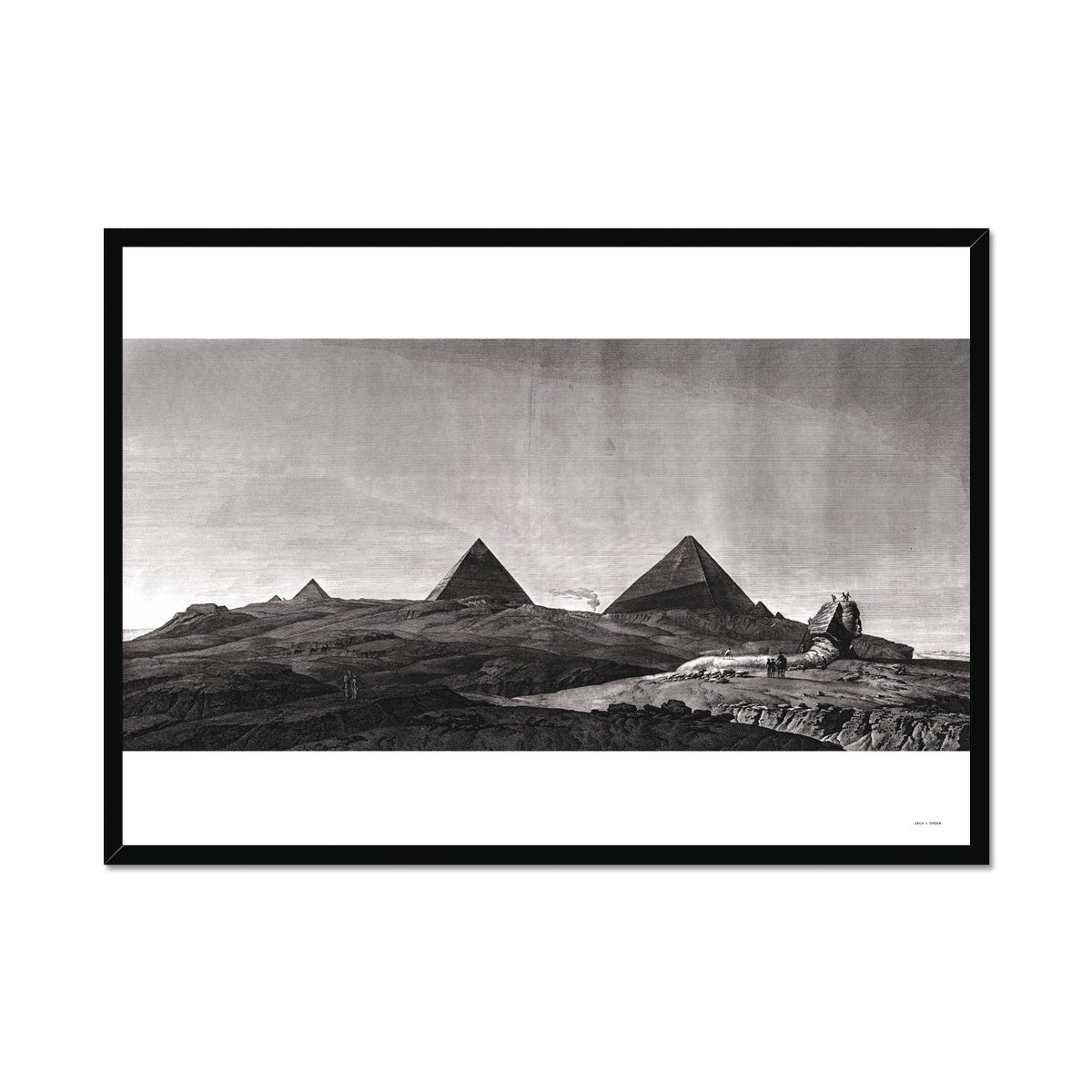 View of the Pyramids of Giza and Sphinx - Memphis Egypt -  Framed Print