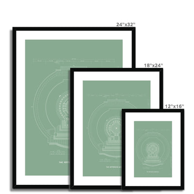 Jefferson Memorial Main Level Plan - Green - Framed & Mounted Print