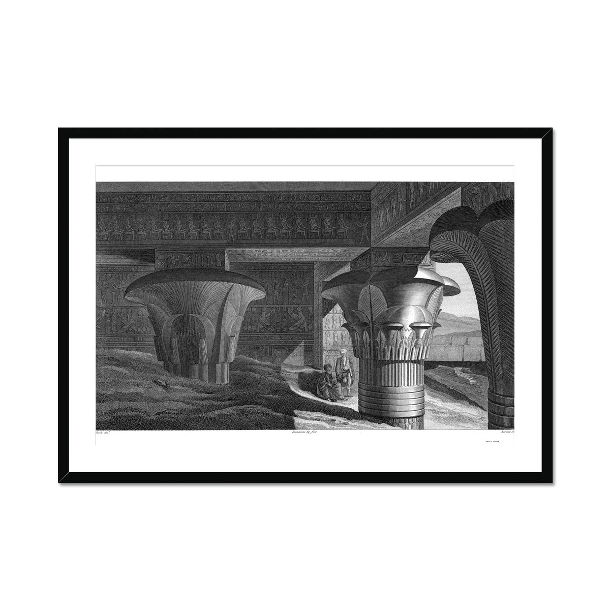 Temple of Horus Portico Interior - Edfu Egypt -  Framed & Mounted Print