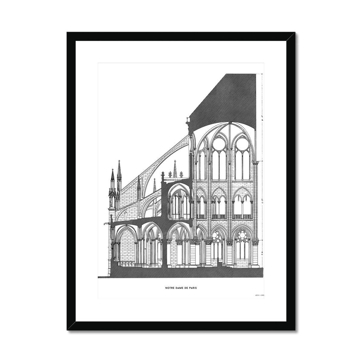 Notre Dame de Paris - Cross Section - White -  Framed & Mounted Print