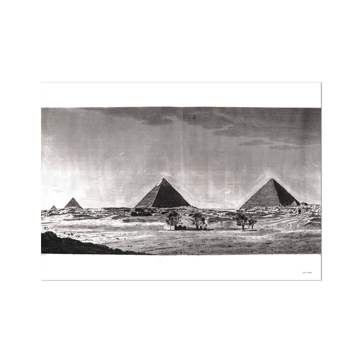 View of Pyramids from the South  - Memphis Egypt -  Etching Paper Print
