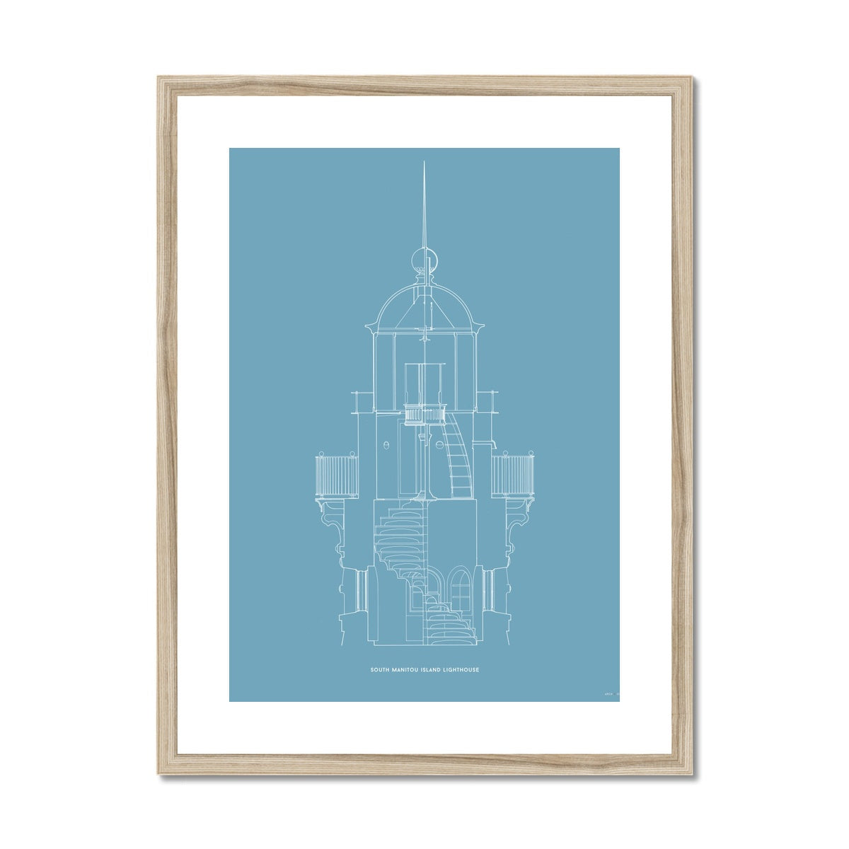 South Manitou Island Lighthouse - Lantern Detail - Blue -  Framed & Mounted Print
