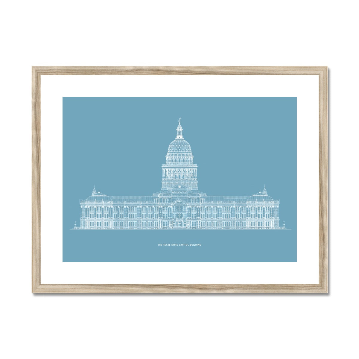The Texas State Capitol Building - South Elevation - Blue -  Framed & Mounted Print