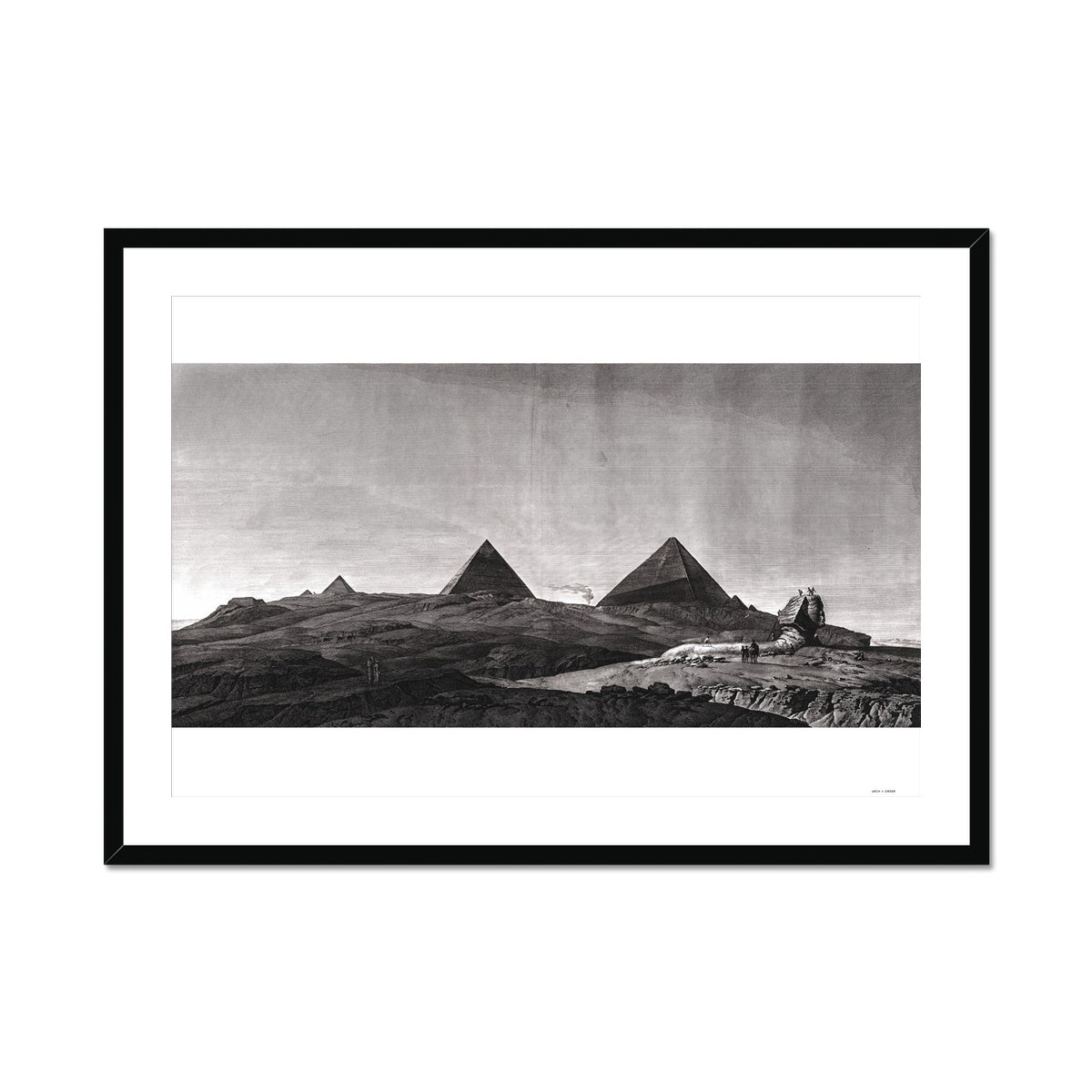 View of the Pyramids of Giza and Sphinx - Memphis Egypt -  Framed & Mounted Print