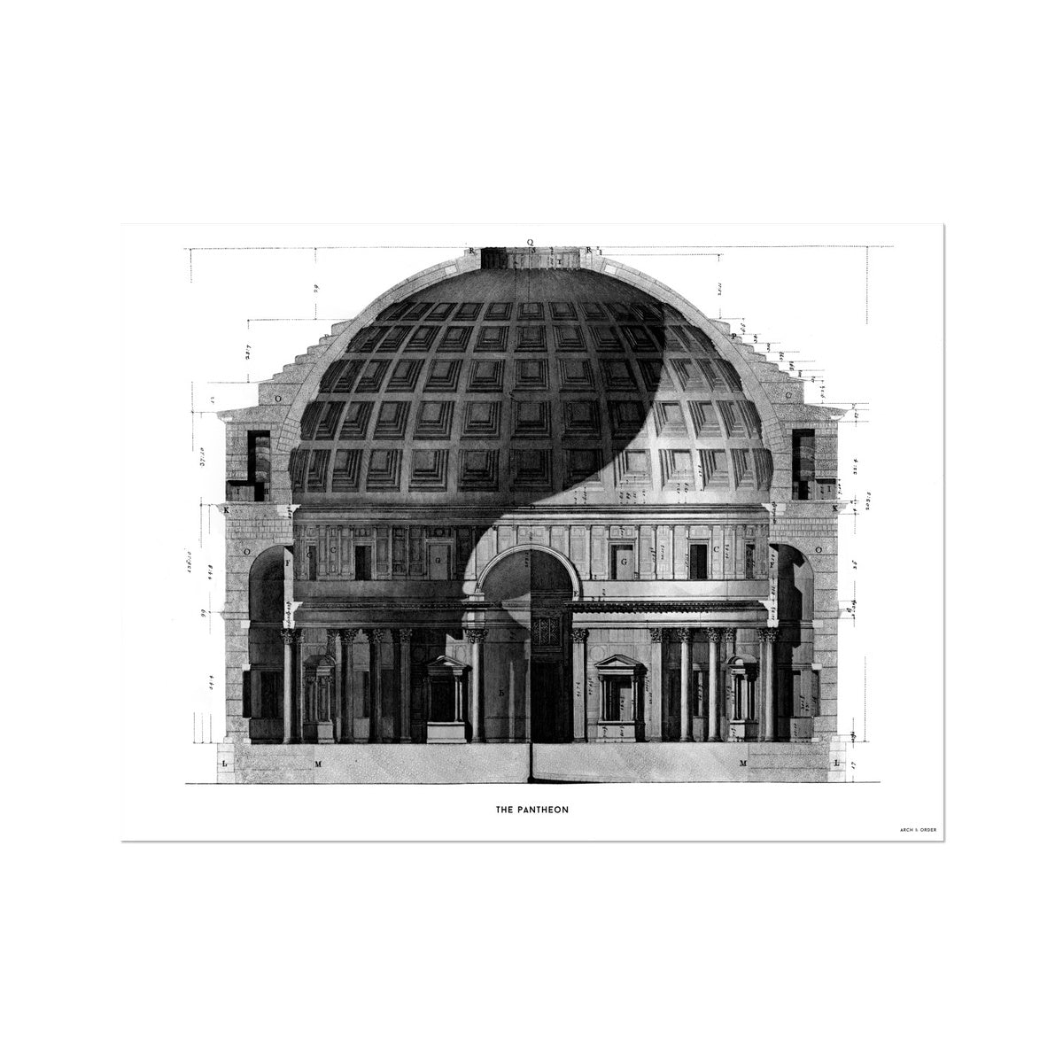 The Pantheon - Primary Elevation Cross Section -  Etching Paper Print