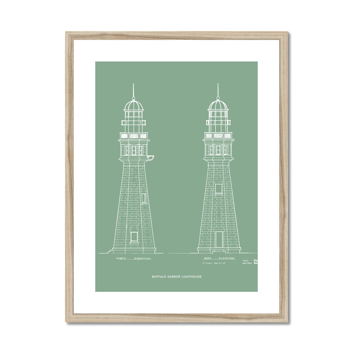 Buffalo Harbor Lighthouse - North and East Elevations - Green -  Framed & Mounted Print