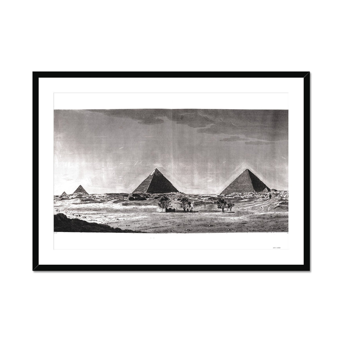 View of Pyramids from the South  - Memphis Egypt -  Framed & Mounted Print