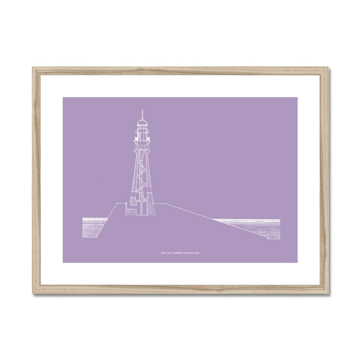 Buffalo Harbor Lighthouse - Cross Section - Lavender -  Framed & Mounted Print