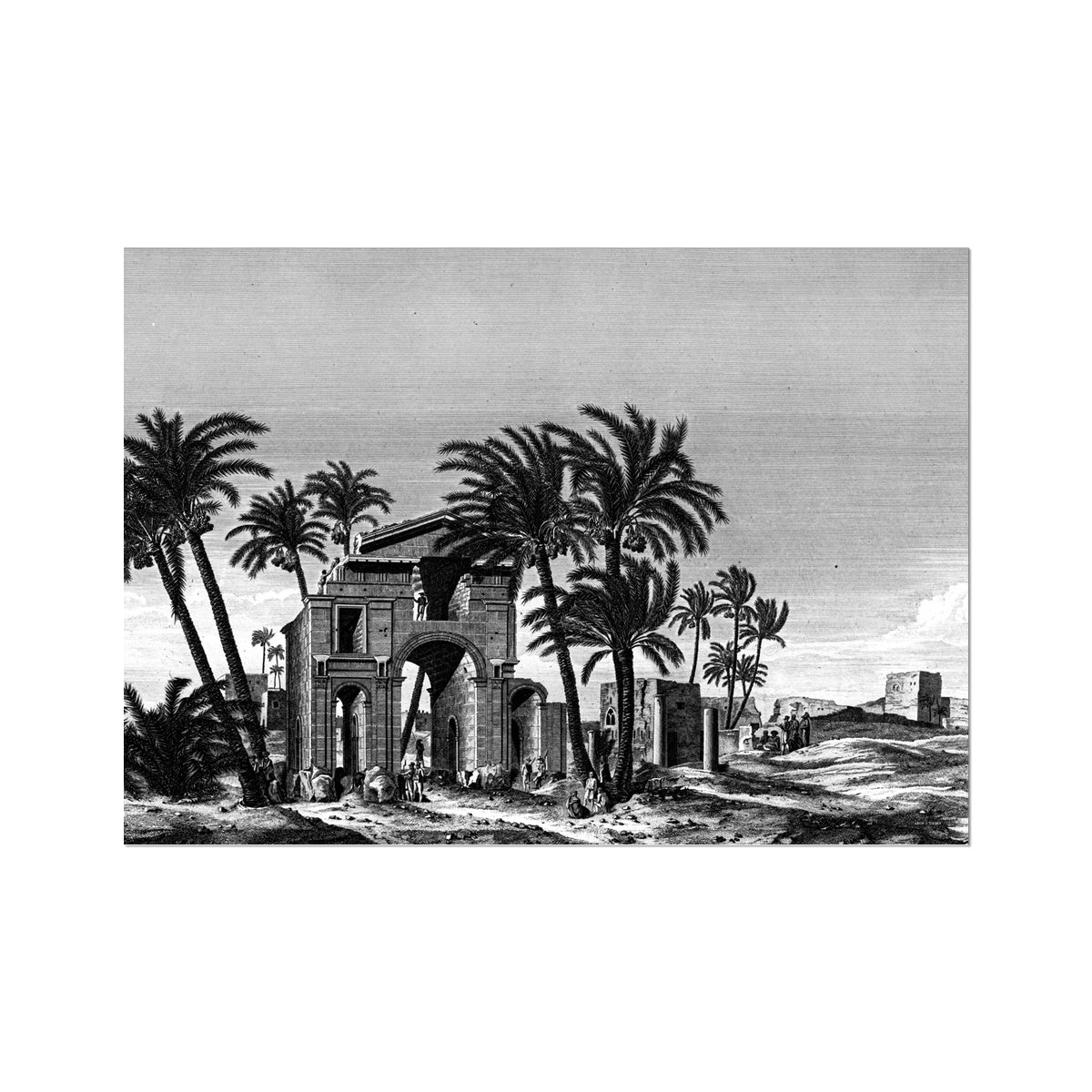 Triumphal Arch View - Antinoöpolis Egypt -  Etching Paper Print