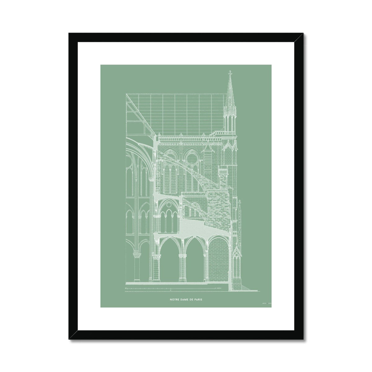 Notre Dame de Paris - Buttress Cross Section - Green -  Framed & Mounted Print