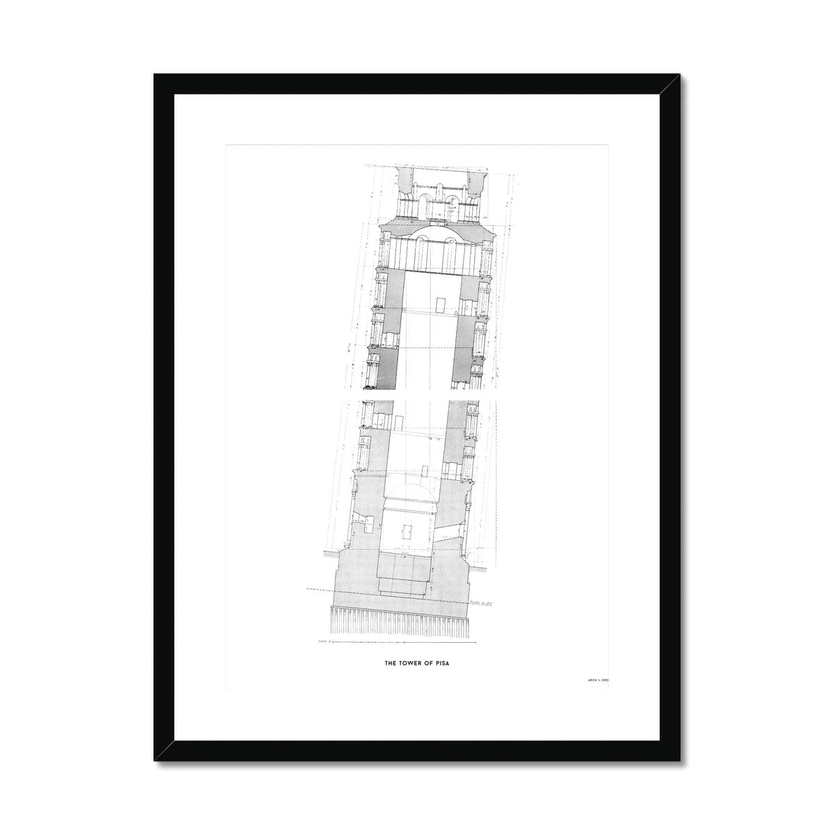 Tower of Pisa - Cross Section - White -  Framed & Mounted Print