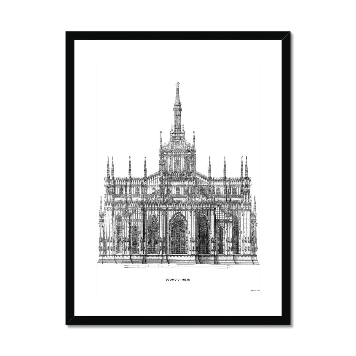 The Milan Cathedral - Primary Elevation - White -  Framed & Mounted Print