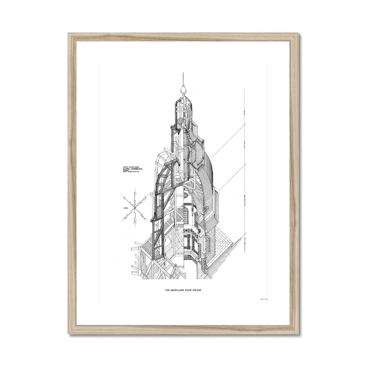 The Maryland State House - Dome Axonometric Cross Section - White -  Framed & Mounted Print