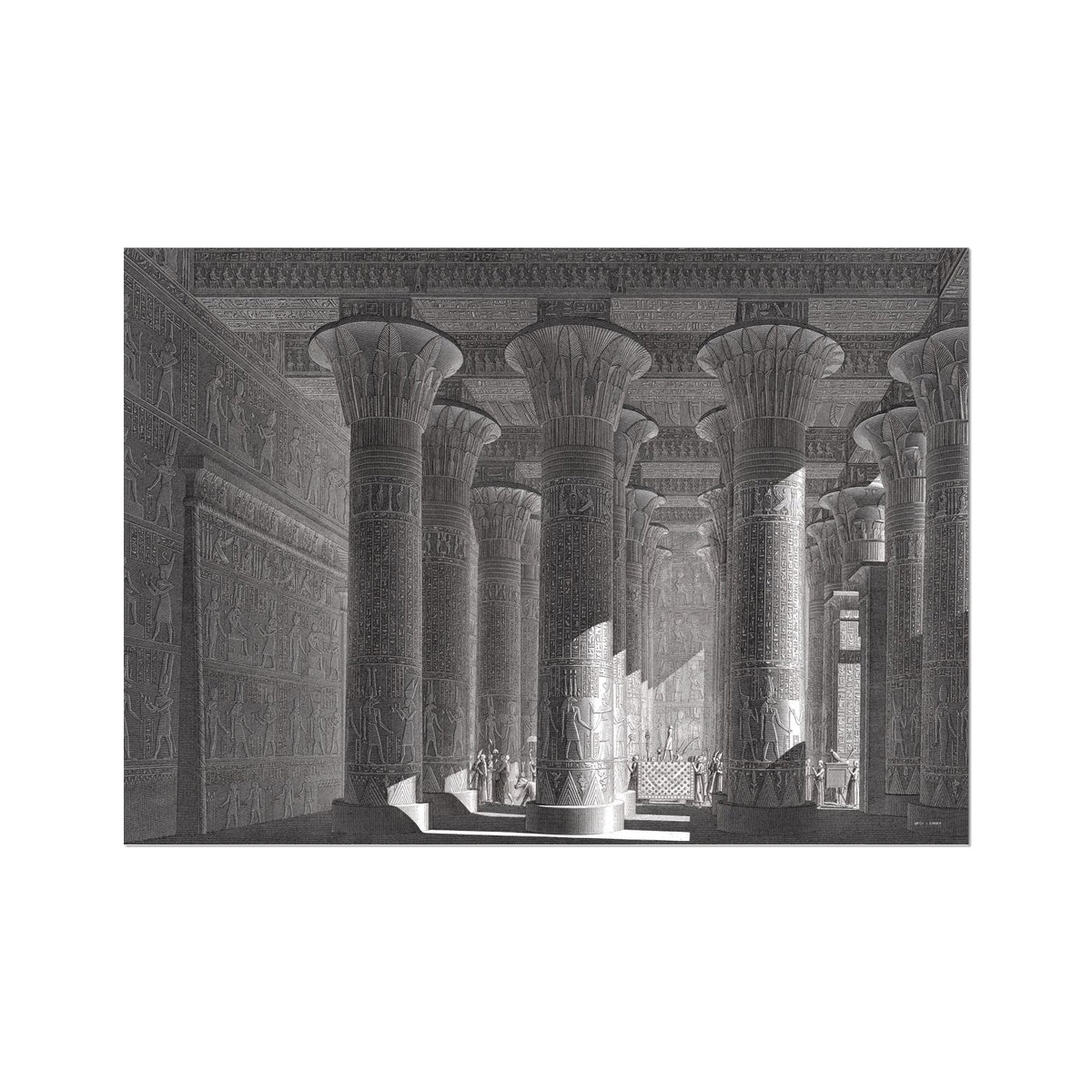 Temple of Khnum Portico Interior - Esna Egypt -  Etching Paper Print