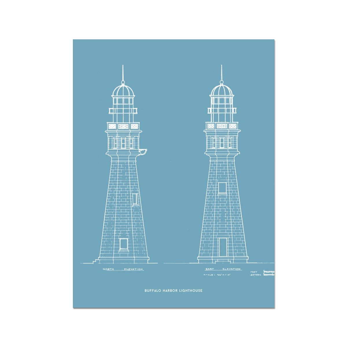 Buffalo Harbor Lighthouse - North and East Elevations - Blue -  Etching Paper Print