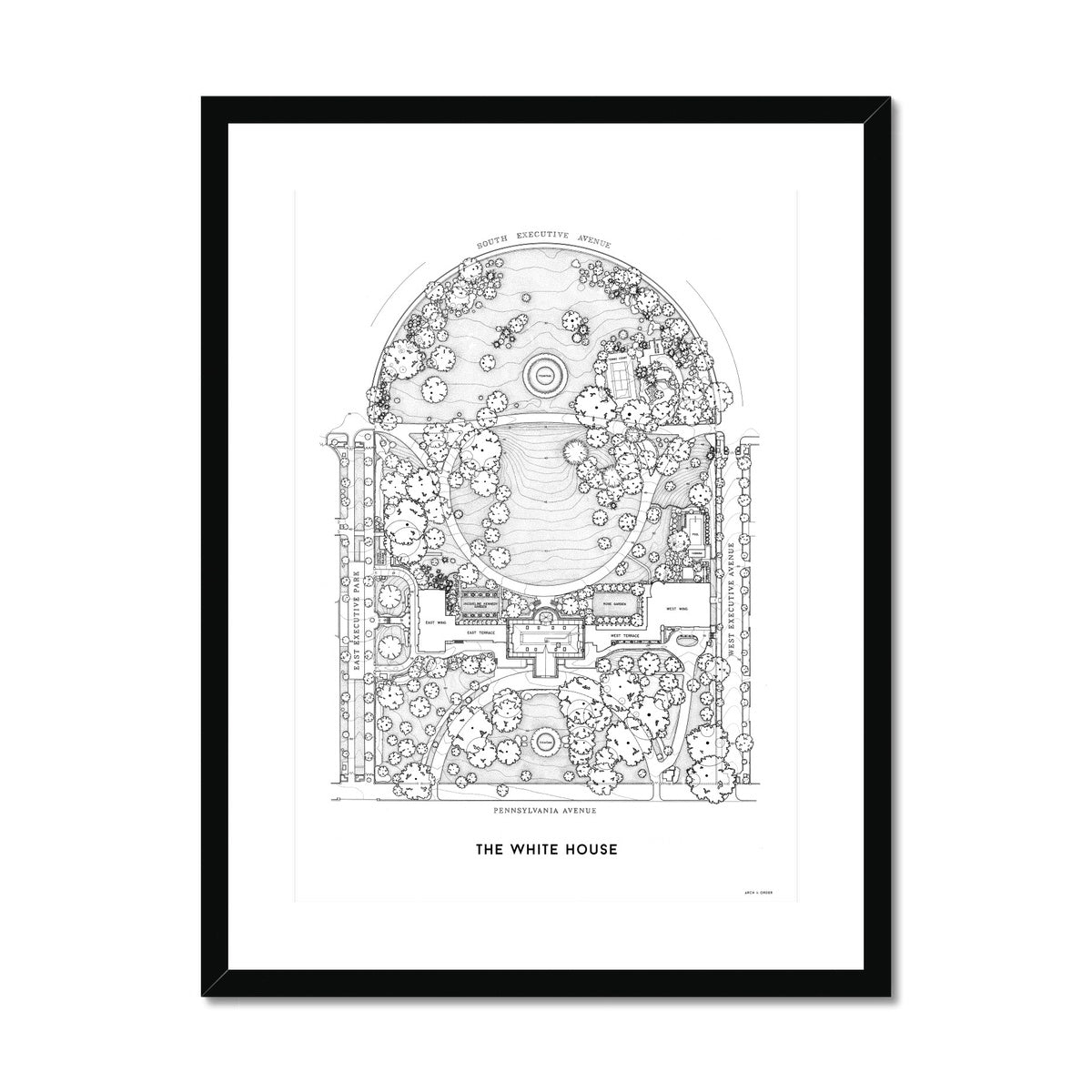 The White House Site Plan - White -  Framed & Mounted Print