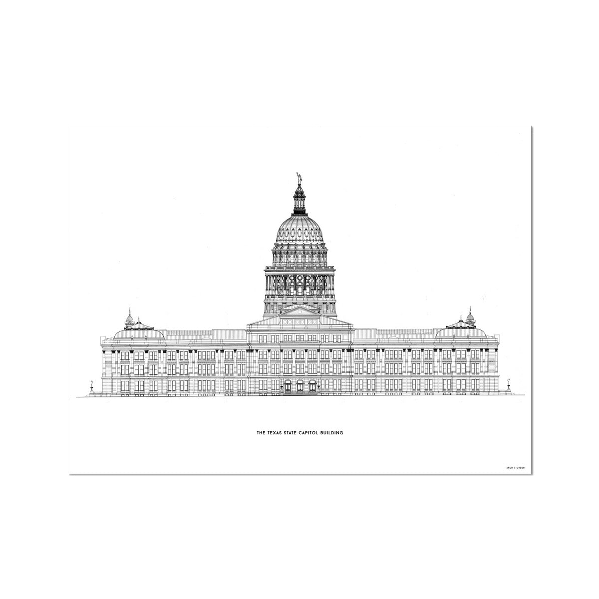 The Texas State Capitol Building - North Elevation - White -  Etching Paper Print