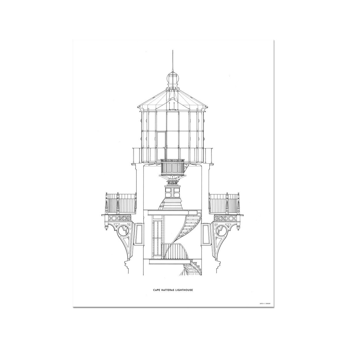 Cape Hatteras Lighthouse - Lantern Cross Section - White -  Etching Paper Print