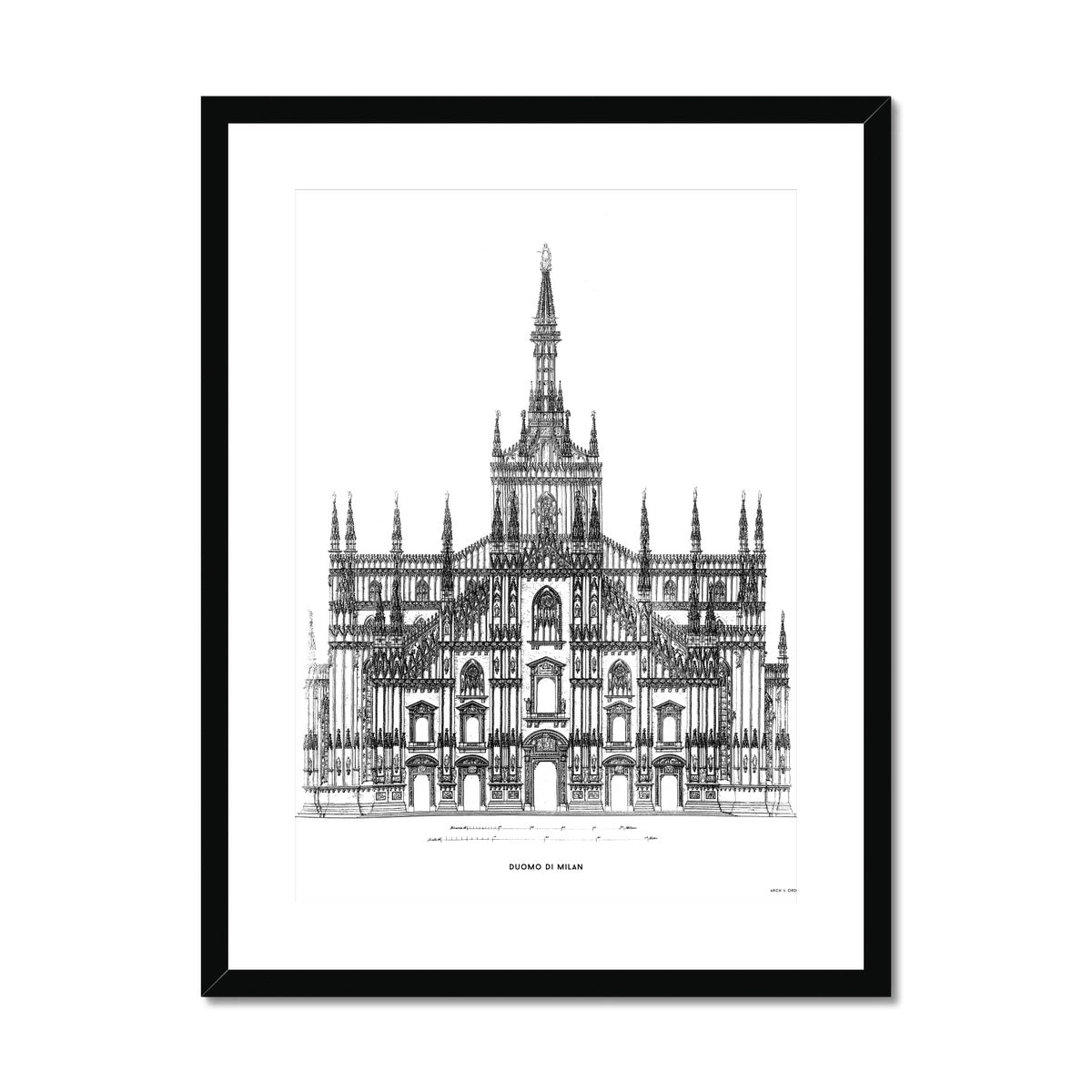The Milan Cathedral - Alternative Primary Elevation - White -  Framed & Mounted Print