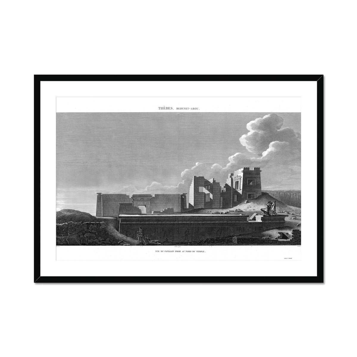 View of the Pavilion North of the Temple - Medynet-Abou - Thebes Egypt -  Framed & Mounted Print