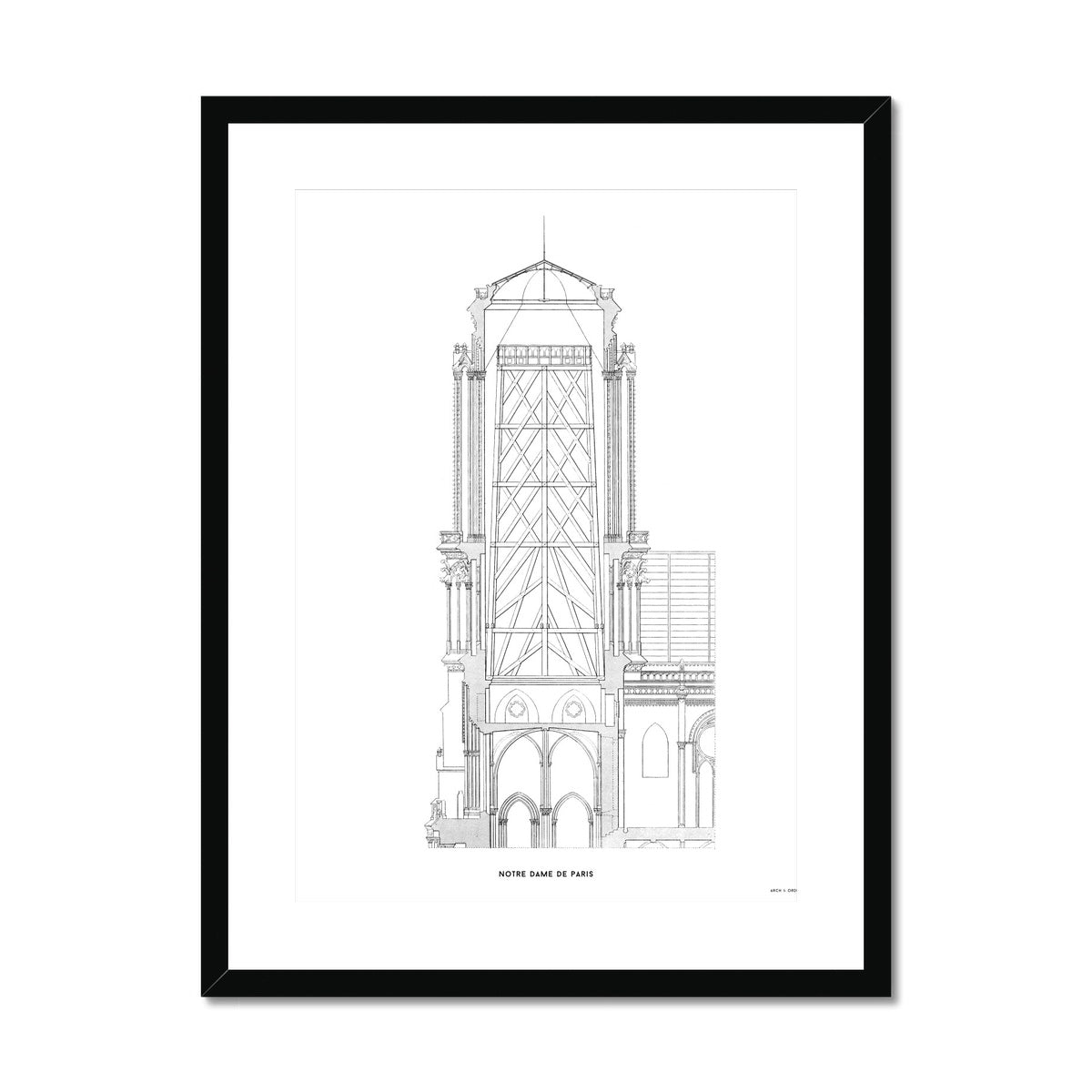 Notre Dame de Paris - Tower Cross Section - White -  Framed & Mounted Print
