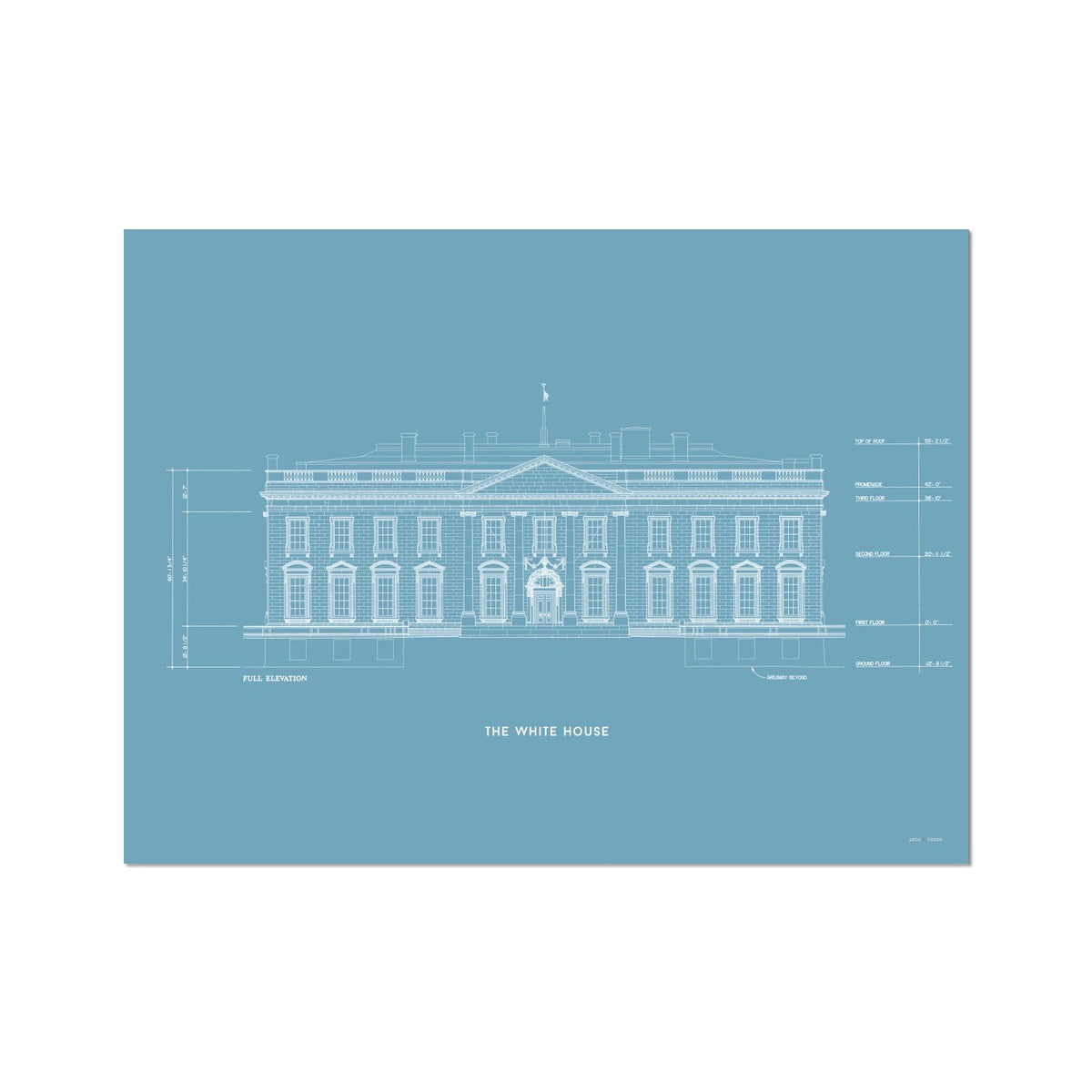 The White House North Elevation - Blue -  Etching Paper Print