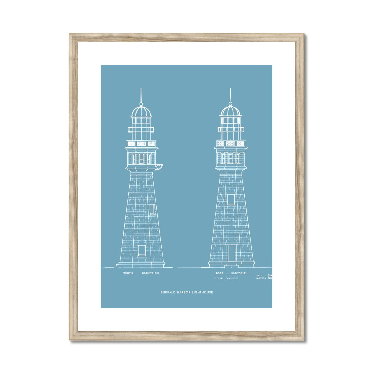 Buffalo Harbor Lighthouse - North and East Elevations - Blue -  Framed & Mounted Print