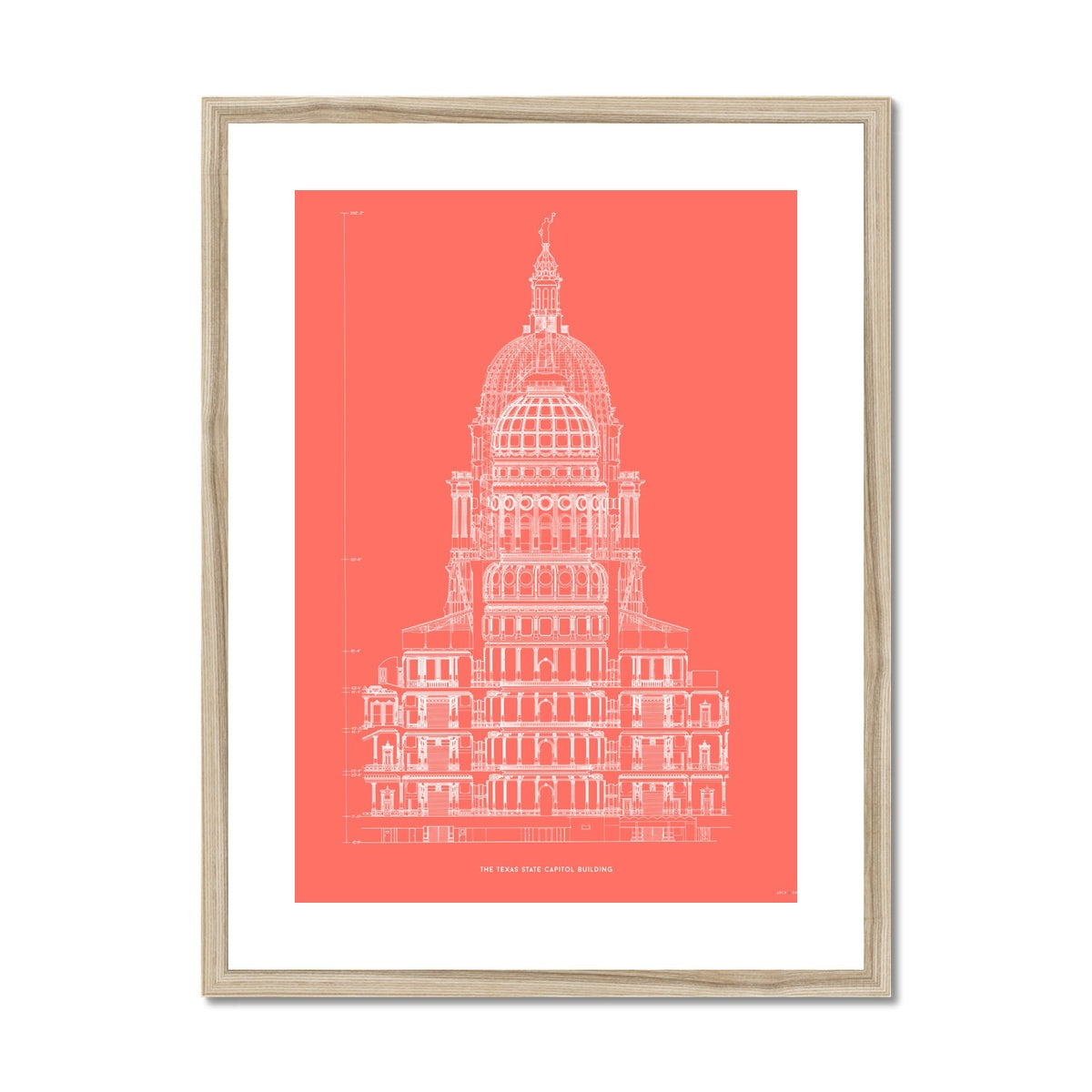 The Texas State Capitol Building - Rotunda Cross Section - Red -  Framed & Mounted Print